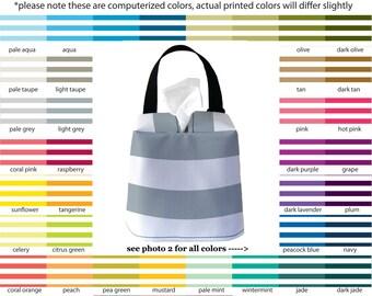 Auto Sneeze Box - Canopy Stripes - PICK YOUR COLOR - Car Accessory Automobile Caddy Tissue Case Nautical