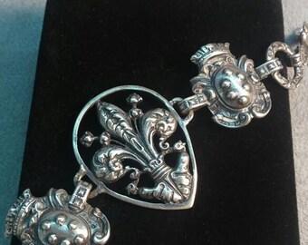 Vintage French Bracelet Sterling Silver Gugliemo Cini Marked Fleur De Lis Serpent Statement Beauty Gorgeous Elegant