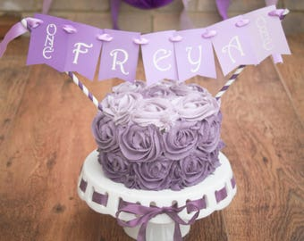 Personalised Purple PrincessThemed Cake Bunting Topper