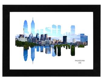 Philadelphia USA City Skyline Print with aerial photo