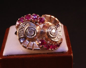 Art Deco Ruby and Diamond Ring, 14k Rose Gold, Circa 1940's