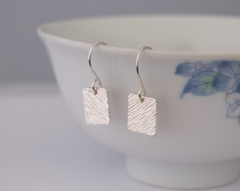 Diagonal Silver Square Earrings - Small Textured Metalwork Hammered Sterling Silver Dangle Earrings Jewellery Gift by Emma Dickie Design