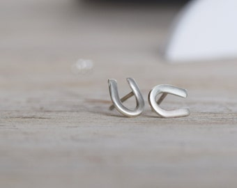 Horse Shoes stud earrings, Horseshoe studs, Lucky studs in sterling silver, Hypoallergic