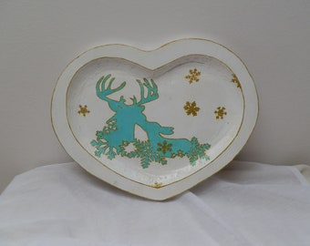 """Reindeer Christmas"" wooden heart tray"