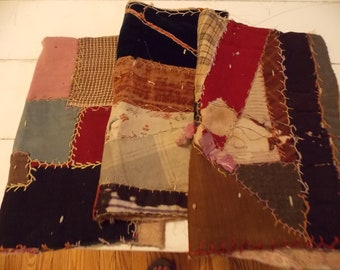 3 PRIMITIVE Crazy Quilt Pieces Old Embroidery Hand Sewing Great Florals Wools Fabrics Collage Antique Textiles