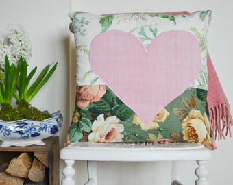 Rose print cushion with heart detail and luxury feather insert | Patchwork cushion | Pink heart cushion | Country floral cushion | SALE