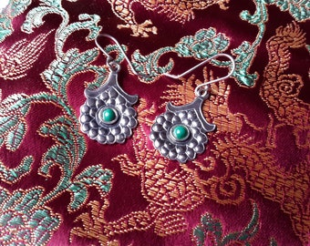 Sterling Silver Floral Earrings Green Stone Cabochons