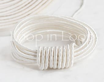 White SILK cord Wrapped Silk Satin Cord rope 1.5 mm thick organic natural hand spun silk polyester core Jewelry Supplies (3 feet)