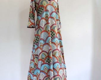 Long dress inside, ample hostess gown cotton arcade blue, gray, pink and multicolor