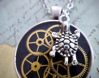 Steampunk Watch movement pendant - Turtle charm - Take Your Time - Steampunk Necklace - Repurposed art