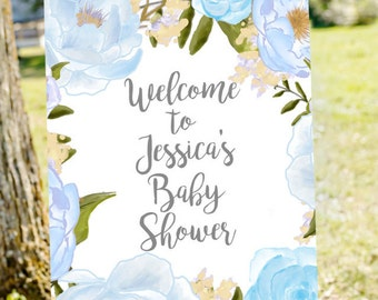 Baby boy shower welcome sign, Welcome to baby shower sign, blue baby shower, boy baby shower sign, printable welcome sign, shower decoration