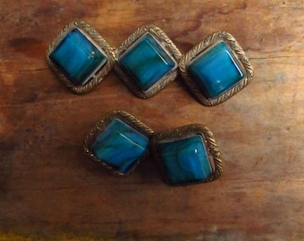 Vintage Brass and Glass Brooch - Art Deco Glass Brooch and Earrings Set