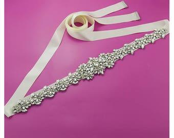 Rhinestones skinny Belt, Sash, Bridal, Maternity, Prom,  Bridesmaids, Maternity sash