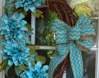 Grape Vine Wreath with Stunning Teal Blue Dahlia Flowers & Cheron Burlap Ribbon