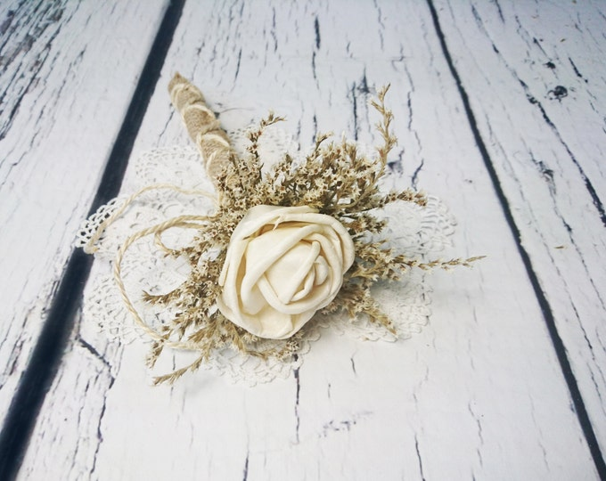 Flower girl wand cream rustic wedding Ivory Flower dried limonium burlap Bridesmaids sola roses vintage custom woodland