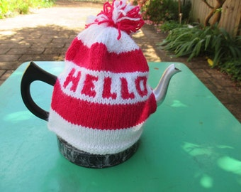 Hello - Hand knitted Tea Cosy