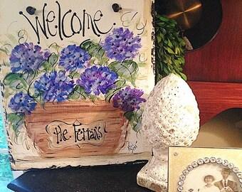 Hydrangea welcome sign 10x12 original hand painted slate