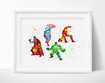 Avengers Superhero Print, Marvel Poster, Boys Nursery Art Print Wall Decor, Watercolor Art, Boys Superhero Room Wall Art, Not Framed No. 161
