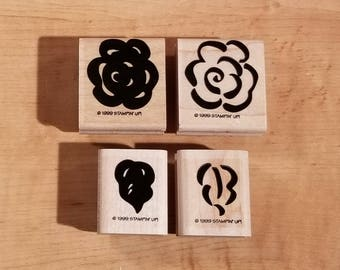 Stampin' Up Retired Set - 1999 Brushstroke Blossoms - Rubber Stamp Set of 4 - RS-099