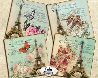 Paris digital images, 4 inch digital coasters, french digital paper, printable cards, printable coasters, Eiffel Tower images, decoupage