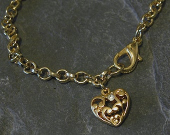 Mother Jewelry, Gold Heart Bracelet, Swarovski Crystal Bracelet, Unique Heart Charm Bracelet, Love Gold Chain Bracelet, Ornament Heart