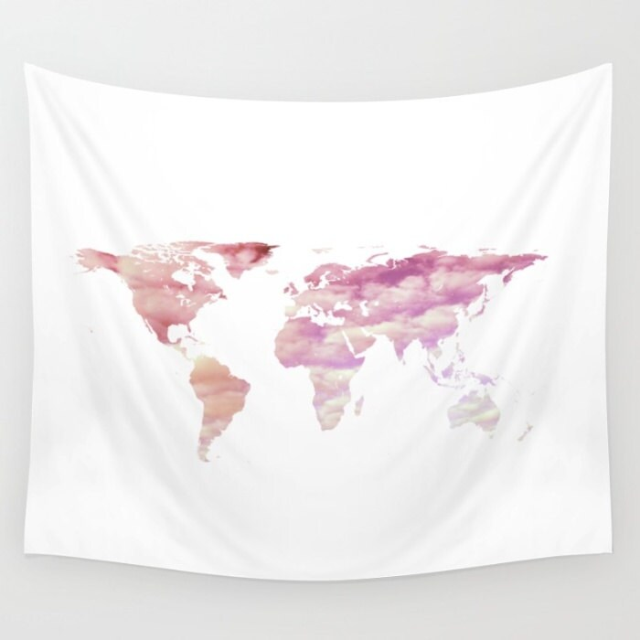 Cotton candy sky world map tapestry pink cloud tapestry art zoom gumiabroncs Image collections