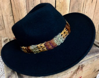Feather hat band on deerskin w/ties, decorative vintage belt tips - pheasant feathers in brown, green, and golden yellow