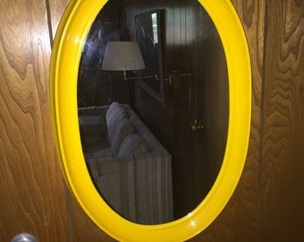 Kartell style yellow melamine vintage oval wall mirror