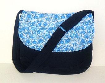 Dark Blue Floral Crossbody Bag, Blue Floral Shoulder Bag