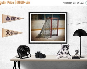 FLASH SALE til MIDNIGHT Hockey Goal side view Photographic art Print, Boys Room decor, Boys Nursery Ideas, Sports art, Sport Prints, Man Cav