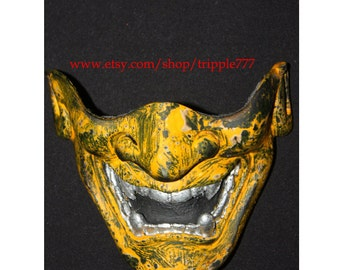 Half cover Hannya Kabuki mask, Airsoft mask, Halloween costume & Cosplay mask, Halloween mask, Steampunk mask, Wall mask, Samurai MA133 et