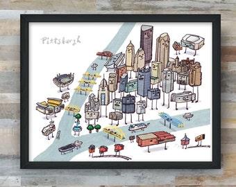 Pittsburgh- Skyline, Bridges, Rivers art print