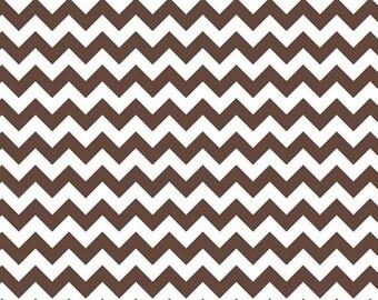 SALE 1/2 Yard  Riley Blake Small Brown Chevron Cotton Fabric Chocolate Brown