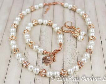 Flower Girl Bracelet, Flower Girl Jewelry, Rose Gold Flower Girl, Rose Gold, Pearl Jewelry Set, Rose Gold Flower Girl Bracelet, Flower Girl