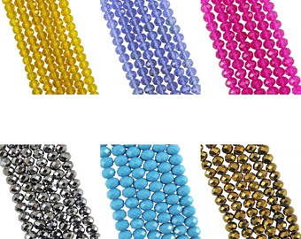 Lots of colours 100 4mm x 6mm crystal faceted beads. Multiple colours