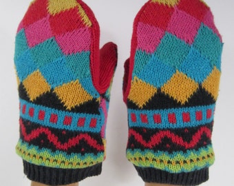 Childs Bright Multi Patterened Primary Colors Mittens (M1)