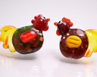 Kids jewelry kid bracelet animal glass bead lampwork animal artisan lampwork jewelry kid making chicken jewelry rooster jewelry chicken bead