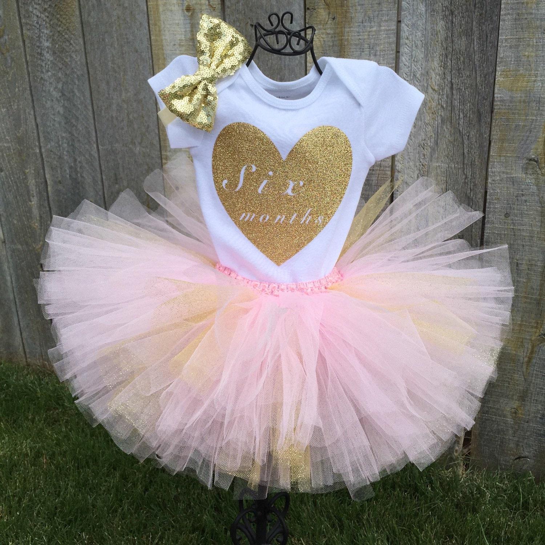 6 Month Pink & Gold Tutu Bodysuit Set Half Birthday Bodysuit
