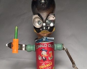 Donald Duck a L'Orange  - Assemblage Art Disney Inspired Robot Sculpture