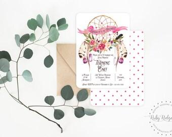 Printable Birthday Invitation | Pink Floral Dream Catcher Invitation | Bohemian Invite | 30th Birthday | First Birthday | 21st Birthday