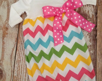 Newborn Layette, Infant Gown, Baby Gown - Girl - Easter Chevron