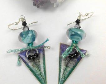 Handmade lampwork bead earrings, ooak lampwork earrings, artisan earrings, dangle earrings, colorful earrings