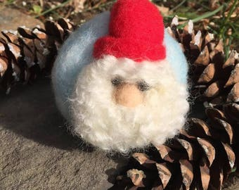 Hand made needle felted wool Santa/Gnome Wool Ornament/Ball ~ Waldorf inspired