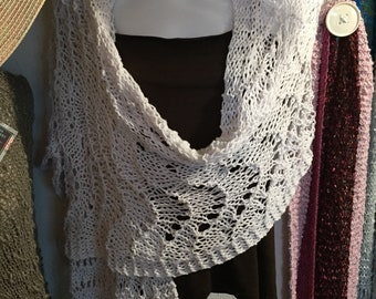 Cotton Shawl, Hand Knit in White Yarn With Silver Accent Threads