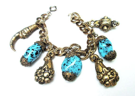 Brass Charm Bracelet -  Turquoise blue art glass - unique brass charms- chain bangle