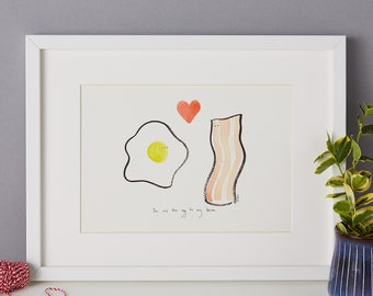 Eggs and Bacon - foodie art print, kitchen couple art, best friends - unframed