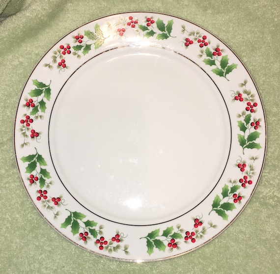 Royal Norfolk Christmas Dinnerware plate. Pattern is RNF 15. English china White with green leaves and Holly Berries Gold ring and trim.  sc 1 st  Etsy & Royal Norfolk Christmas Dinnerware plate. Pattern is RNF 15.