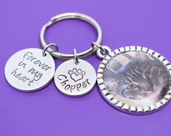 Custom Photo Keychain, pet memorial gift, pet loss gift, hand stamped keychain, memorial jewelry, pet loss keychain, personalized gift