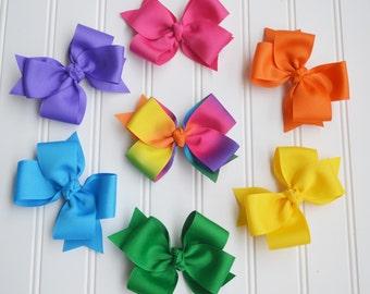 Classic Hairbow Set, Rainbow Hairbows, Rainbow Accessories, Simple Hairbow, Simple Bow, Classic Bow, Elegant Hairbow, Elegant Hair Bow, Bow
