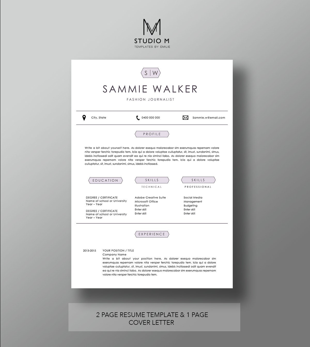 Modern resume template 2 page resume 1 page cover letter zoom biocorpaavc Choice Image